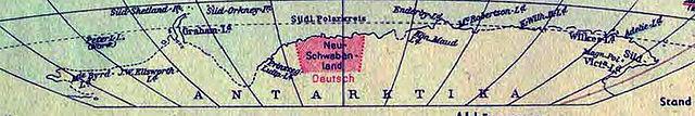 Фрагмент немецкой карты мира 1941 года, показывающий Новую Швабию как владение Германии