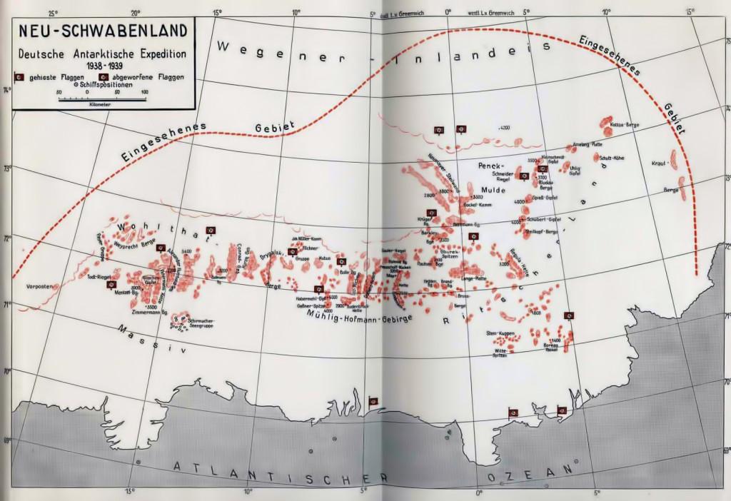 Немецкая Антарктическая экспедиция «Новая Швабия» (1938—1939) Фрагмент немецкой карты мира 1941 года, показывающий Новую Швабию как владение Германии