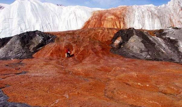 Кровавый водопад из микроорганизмов в Антарктиде